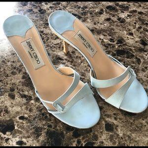 Jimmy Choo baby blue slide on heels